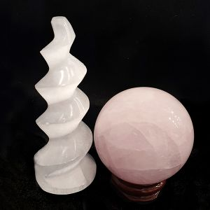 Selenite Tower & Rose Quartz Ball for Relationship Healing