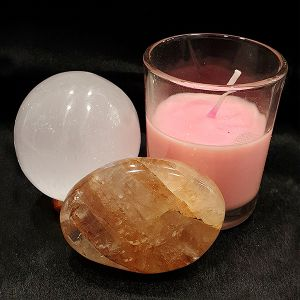 Natural Selenite Ball, Hematoid Palm Stone & Candle