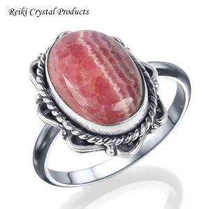 92.5 Silver Ring Rhodocrosite Gemstone Adjustable Ring for Unisex (Color : Pink)
