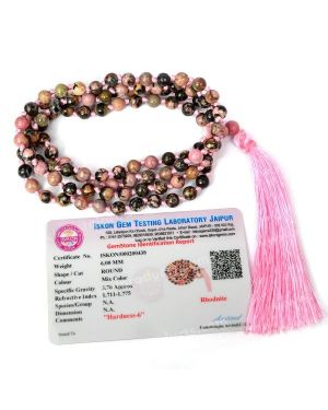 Certified Rhodonite 6 mm 108 Round Bead Mala with Certificate