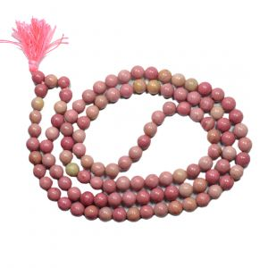 Rodonite 8 mm Round Bead Mala & Necklace (108 Beads & 32 Inch Approx)