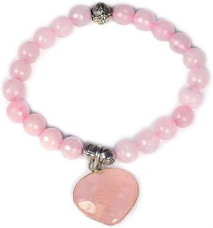 Rose Quartz 8mm  DC Bracelet with Rose Quartz Heart Charm