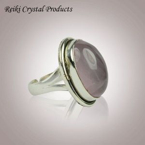 92.5 Silver Rose Quartz Gemstone Adjustable Ring