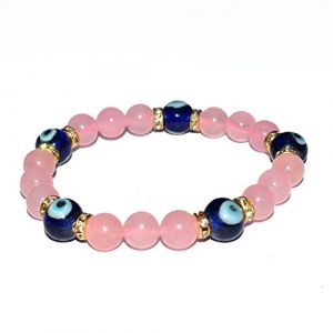 Rose Quartz With Evil Eye Bracelet