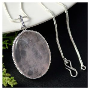 Rose Quartz Oval Shape Pendant with Metal Silver Polished Chain
