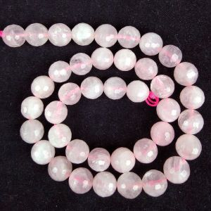 Rose Quartz 10 mm Faceted Beads For Jewelery Making Bracelet, Necklace / Mala