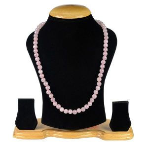 Rose Quartz 8 mm Round Bead Mala & Necklace (108 Beads & 32 Inch Approx)