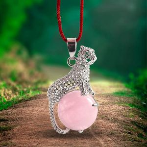 Rose Quartz Leopard Shape Pendant with Metal Polished Chain