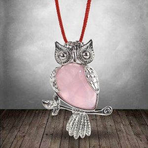 Rose Quartz Owl Shape Pendant with Metal Polished Chain