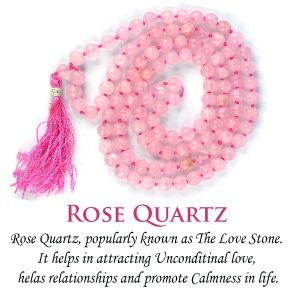 Rose Quartz 6 mm 108 Round Bead Mala / Necklace
