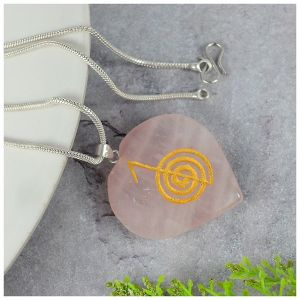 Rose Quartz Heart shaped cho ku rei Pendant