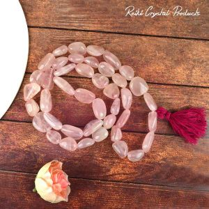 Rose Quartz Tumble Bead Mala / Necklace