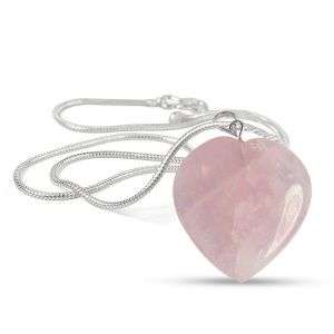 Rose Quartz Heart Shape Pendant - Size 25-30mm with Metal Silver Polished Chain