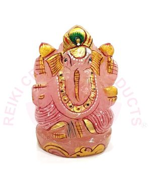 Natural Rose Quartz Crystal Stone Ganesha Idol -Size 2 to 2.5 Inch Approx (Color : Pink)