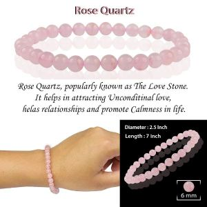 Rose Quartz 6 mm Round Bead Bracelet