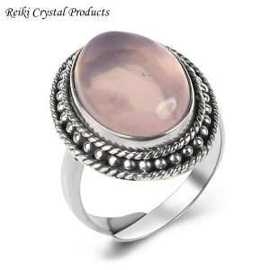 92.5 Silver Ring Rose Quartz Gemstone Adjustable Ring