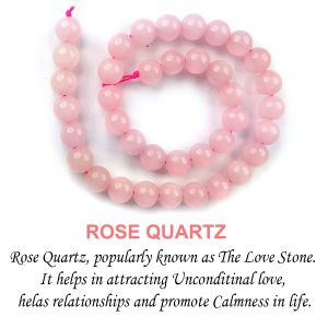 Rose Quartz 10 mm Round Beads For Jewelery Making Bracelet, Necklace / Mala