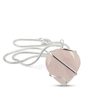 Rose Quartz Heart Wire Wrapped Pendant With Metal Silver Polished Chain