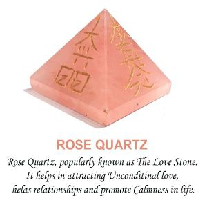 Rose Quartz Reiki Symbol Engraved Pyramid 40 mm Approx