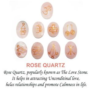 Rose Quartz Karuna Reiki Symbol Engraved Set of 9 pc