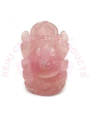Natural Rose Quartz Crystal Stone Ganesha Idol - Size 2 to 2.5 Inch Approx (Color : Pink)