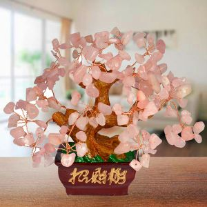 Reiki Crystal Products Feng Shui Natural Rose Quartz Tree Place for Happy Relationship (Color : Pink)