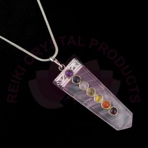 Rose Quartz 7 Chakra Flat Stick Pendant With Silver Polished Metal Chain