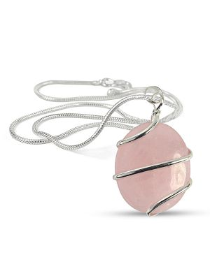 Rose Quartz Oval Wire Wrapped Pendant with Chain