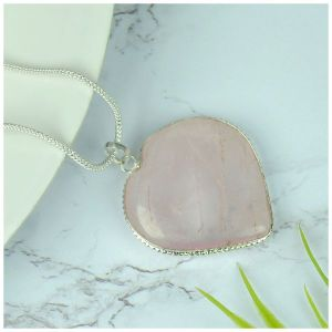 Rose Quartz Heart Shape Pendant - Size 30-35 mm approx