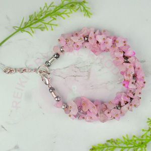 Natural Rose Quartz Chip Bracelet