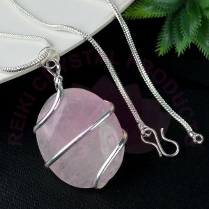 Rose Quartz Oval Wire Wrapped Pendant with Silver Polished Chain