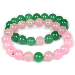Rose Quartz with Green Aventurine 8 mm Bead Combo Bracelet Pack of 2 pc
