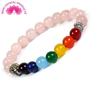 Rose Quartz with 7 Chakra Buddha Head Combination Bracelet 8 mm Round Bead Bracelet