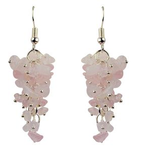 Rose Quartz Crystal Earrings Natural Chip Beads Earrings for Women, Girls (Color :Pink)