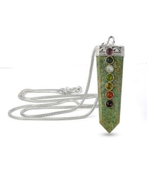 Ruby Zoisite Flat Stick 7 Chakra Beads Pendant with Silver Polished Metal Chain