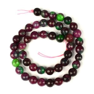Ruby Zoisite Brown Diamond Cut 8 mm Crystal Stone Loose Beads