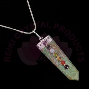 Ruby Zeosite 7 Chakra Flat Stick Pendant With Silver Polished Metal Chain
