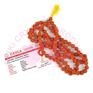Certified Rudraksha Mala 5 Mukhi 6 mm Beads Jaap Mala with Certificate