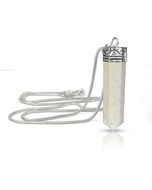 Scolasite Pencil Pendant With Silver Polished Metal Chain