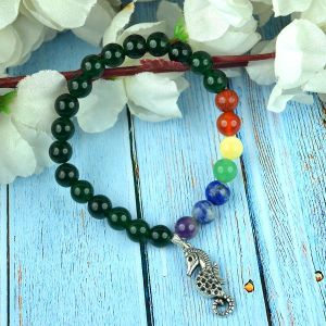 Green Aventurine Bracelet with Hanging Sea Horse  Charm 8 mm Round Beads Bracelet