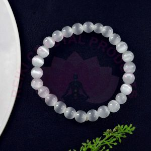 Selenite 8 mm Round Bead Bracelet