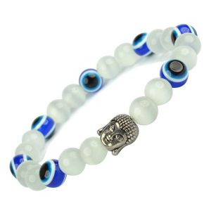 Selenite with Evil Eye 8 mm Bead Buddha Head Charm Bracelet