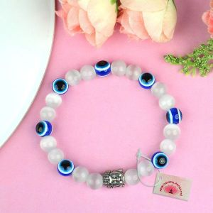 Natural Selenite with Evil Eye 8 mm Beads Bracelet
