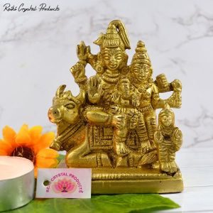 Brass Shiv Parivar Murti | Shiva Parvati Ganesh Family Murti Idol Statue | Size 3.3 Inch Approx by Reiki Crystal Products