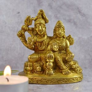 Brass Shiv Parivar Murti for Home Temple Idol Statue | Size 3.5 Inch Approx