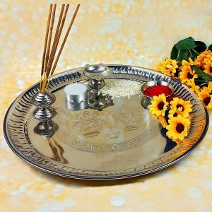 Steel Aarti Pooja Thali Set for Home Temple Size - 11 Inch (Color : Silver)