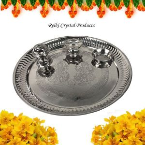 Steel Pooja Aarti Thali Set with Roli Agarbatti for Home Temple Size - 8 Inch (Color : Silver)