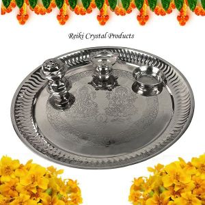Steel Aarti Pooja Thali Set with Roli Agarbatti for Home Temple Size - 10 Inch (Color : Silver)