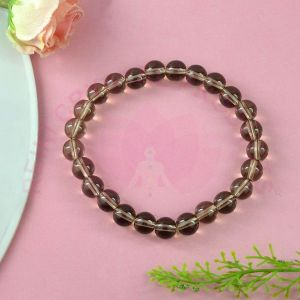 Smoky Quartz 8 mm Round Bead Bracelet