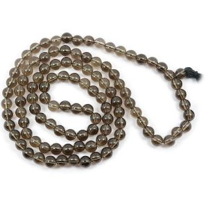 Smoky Quartz 8 mm Round Bead Mala & Necklace (108 Beads & 32 Inch Approx)